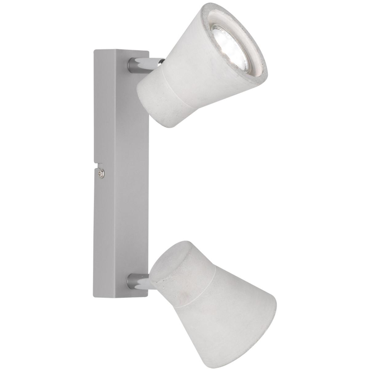 LED Plafondspot - Trion Antyna - GU10 Fitting - 6W - Warm Wit 3000K - 2-lichts - Rond - Beton Look -