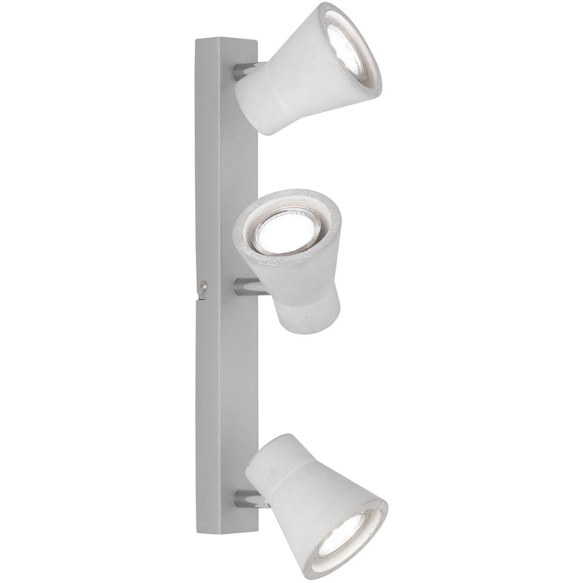LED Plafondspot - Trion Antyna - GU10 Fitting - 9W - Warm Wit 3000K - 3-lichts - Rond - Beton Look -
