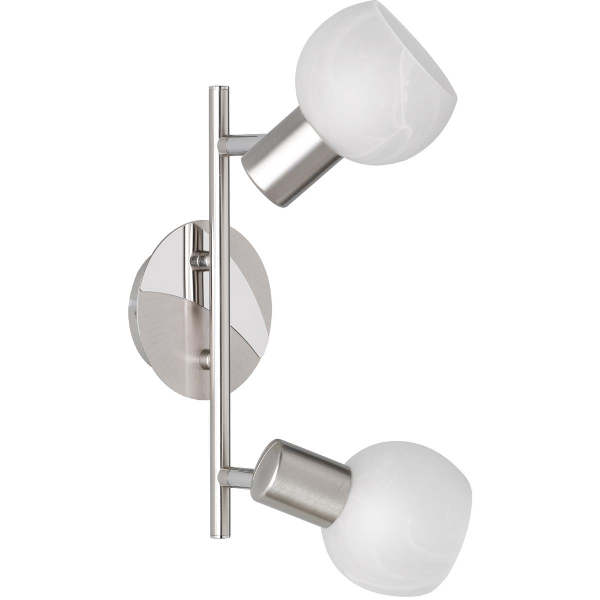 LED Plafondspot - Trion Besina - E14 Fitting - 2-lichts - Rond - Mat Nikkel - Aluminium