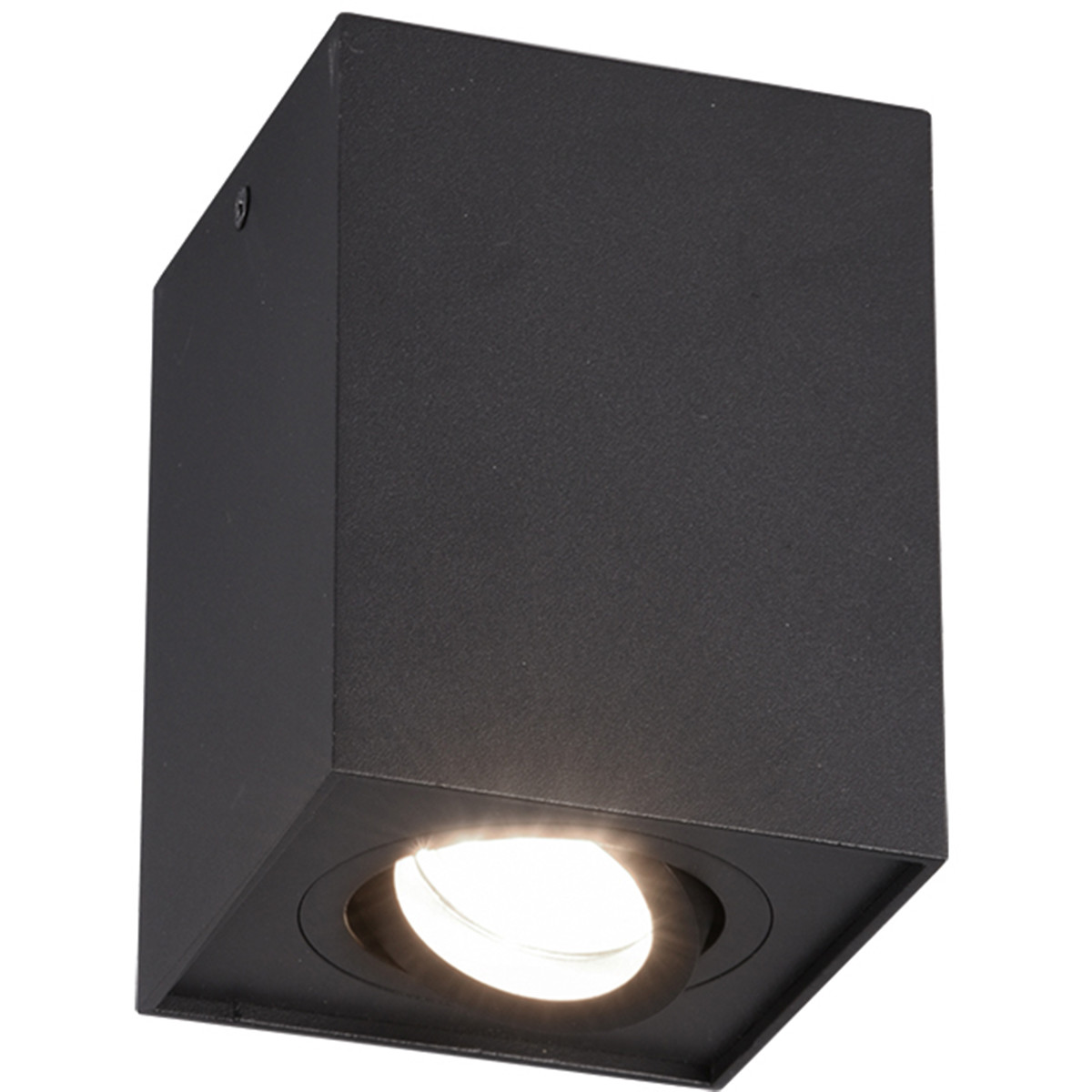 LED Plafondspot - Trion Bisqy - GU10 Fitting - 1-lichts - Vierkant - Mat Zwart - Aluminium