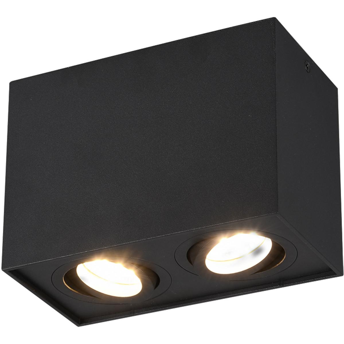 LED Plafondspot - Trion Bisqy - GU10 Fitting - 2-lichts - Rechthoek - Mat Zwart - Aluminium