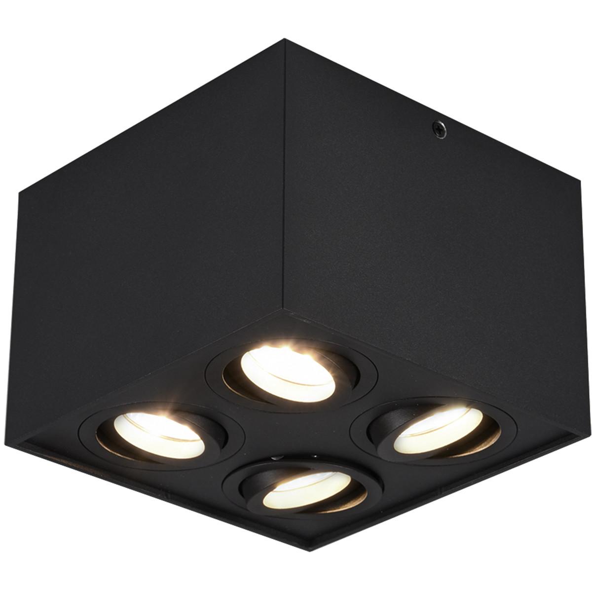 LED Plafondspot - Trion Bisqy - GU10 Fitting - 4-lichts - Vierkant - Mat Zwart - Aluminium