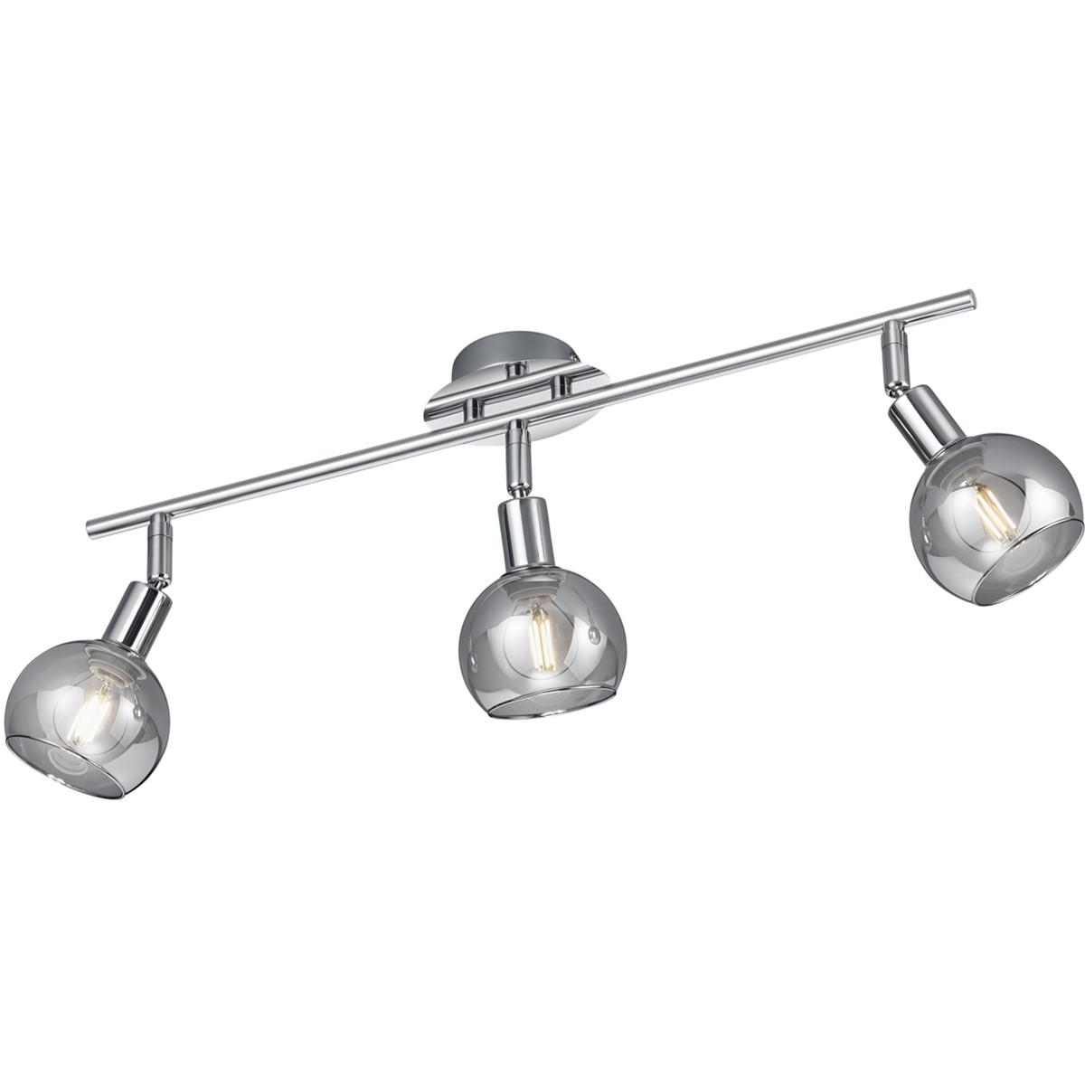 LED Plafondspot - Trion Brista - E14 Fitting - 3-lichts - Rond - Glans Chroom - Aluminium
