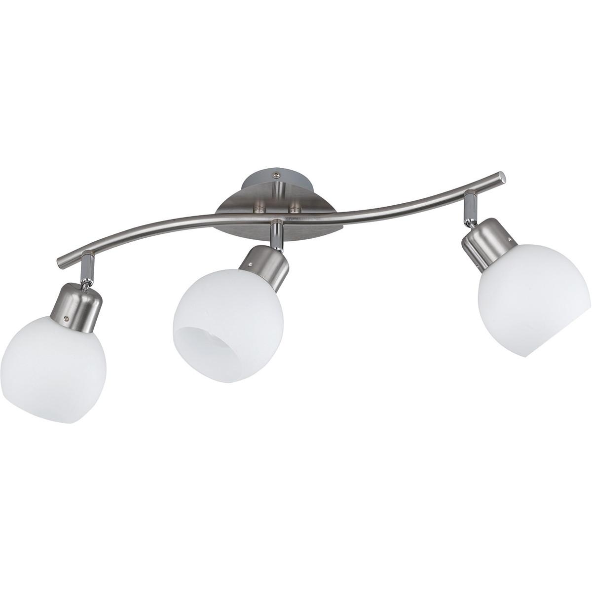 LED Plafondspot - Trion Frudo - 12W - E14 Fitting - Warm Wit 3000K - 3-lichts - Rond - Mat Nikkel -