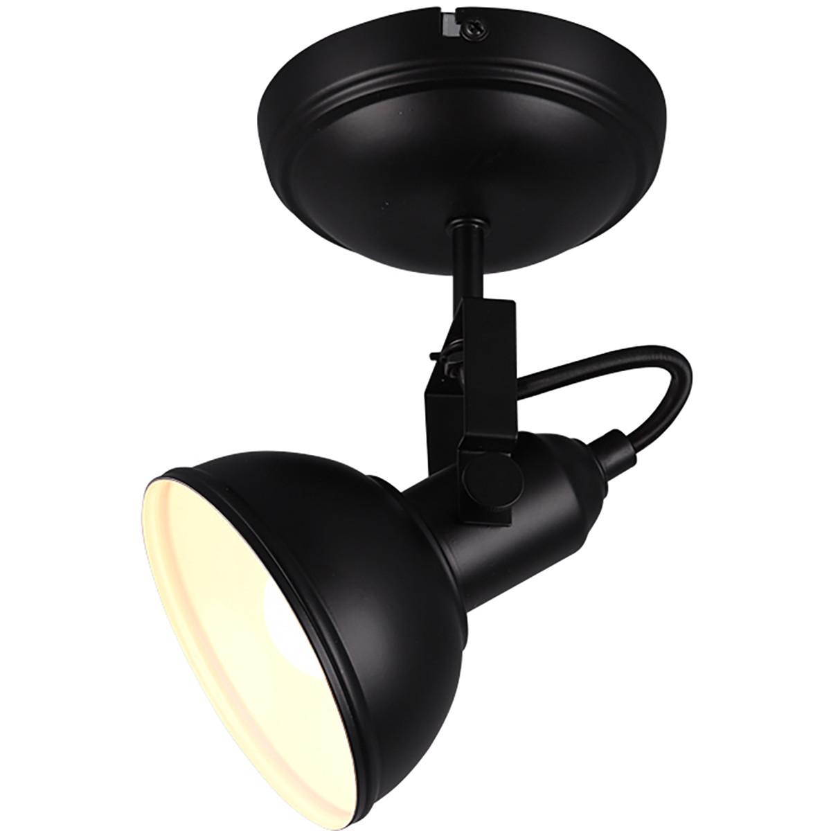 LED Plafondspot - Trion Gini - E14 Fitting - 1-lichts - Rond - Mat Zwart - Aluminium