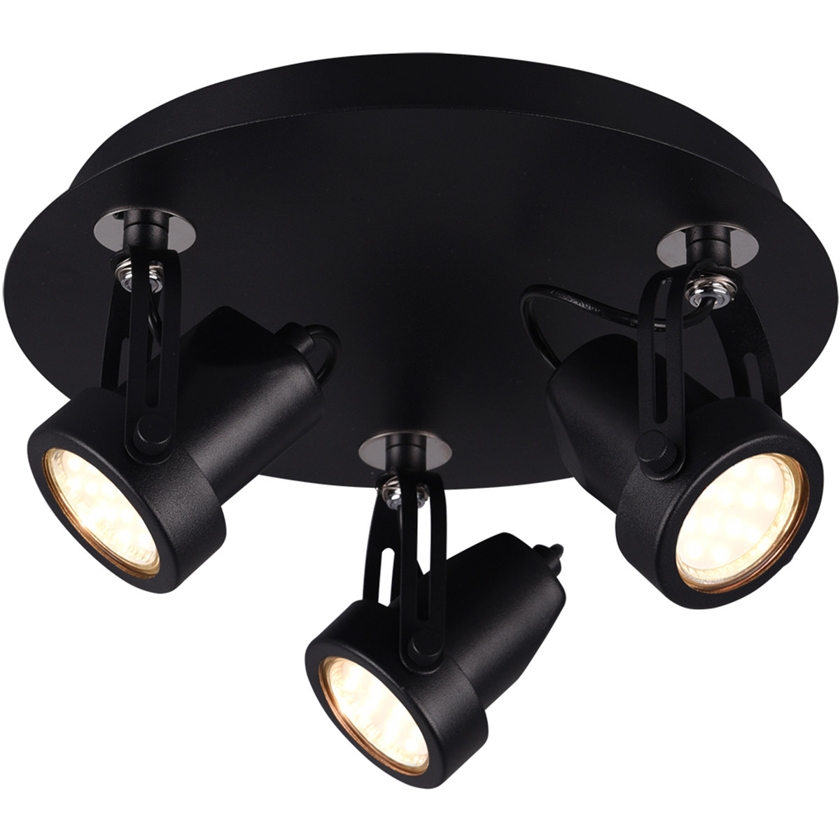 LED Plafondspot - Trion Guno - GU10 Fitting - 3-lichts - Rond - Mat Zwart - Aluminium