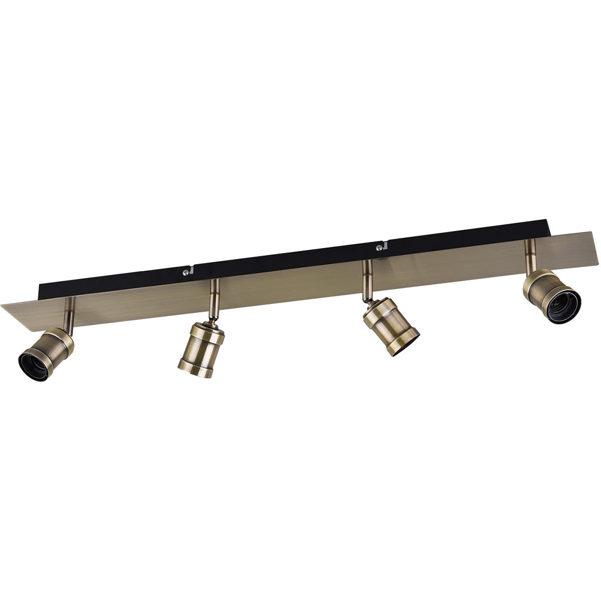 LED Plafondspot - Trion Korli - E27 Fitting - 4-lichts - Rond - Mat Brons - Aluminium