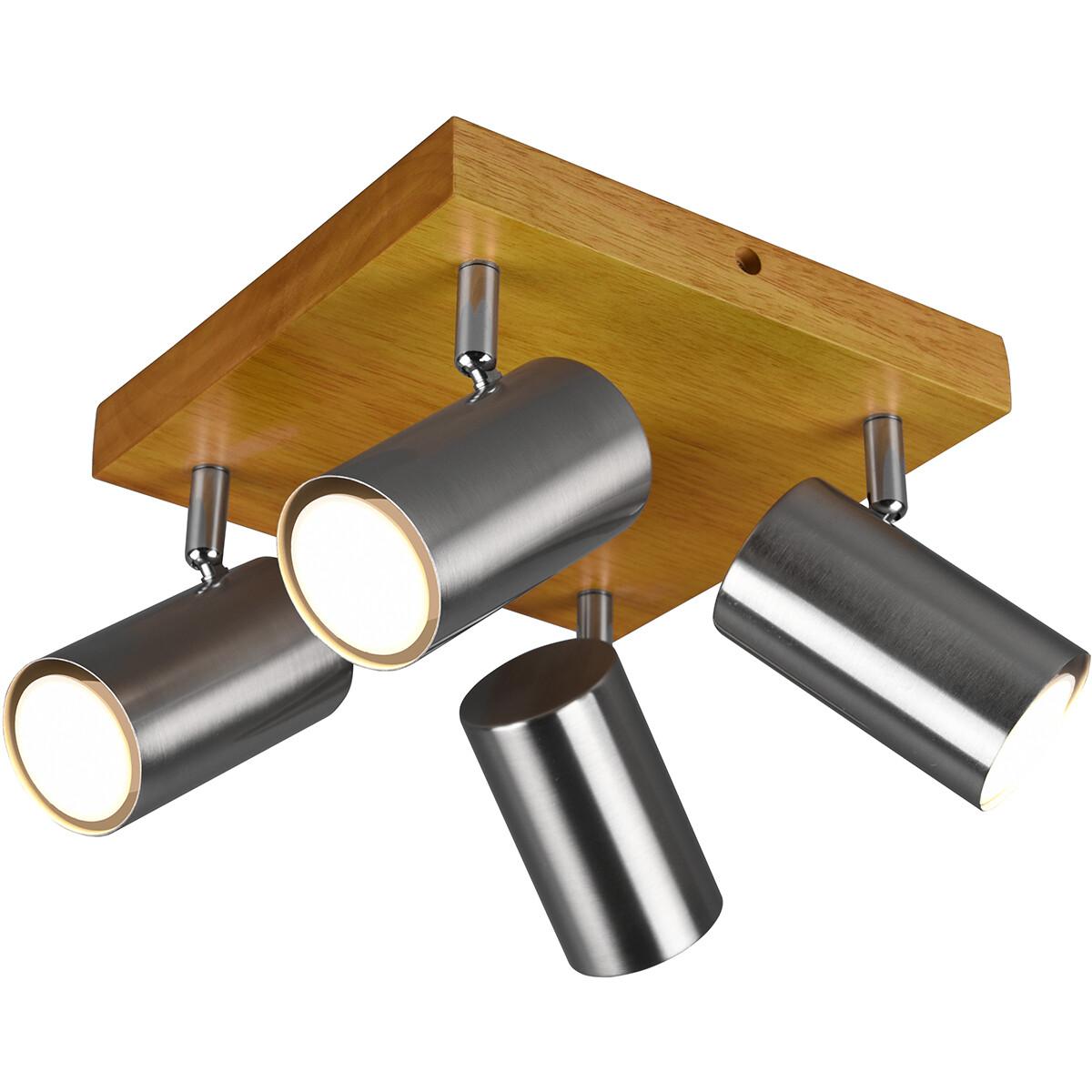 LED Plafondspot - Trion Milona - GU10 Fitting - 4-lichts - Rond - Mat Nikkel - Aluminium