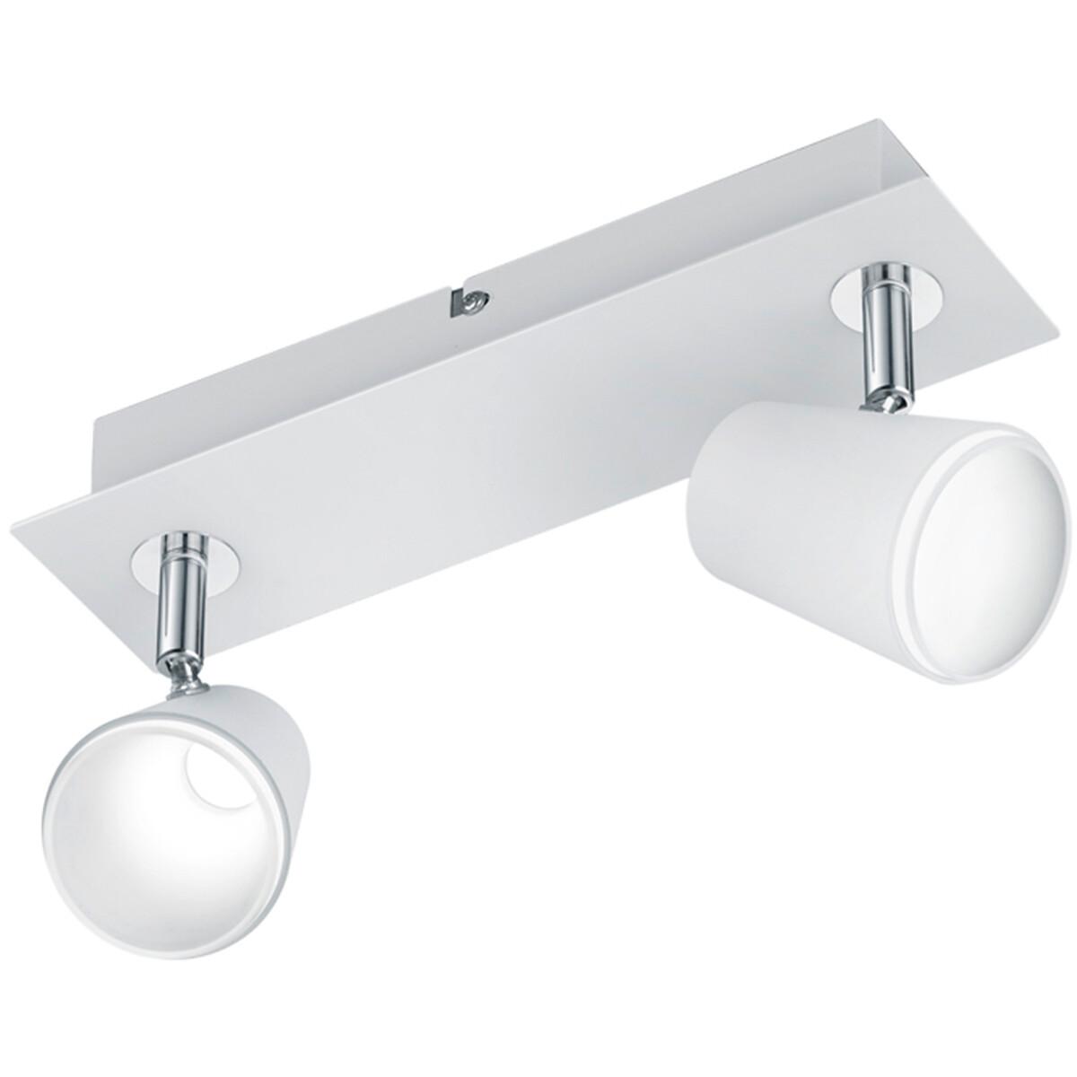 LED Plafondspot - Trion Narca - 12W - Warm Wit 3000K - 2-lichts - Rechthoek - Mat Wit - Aluminium