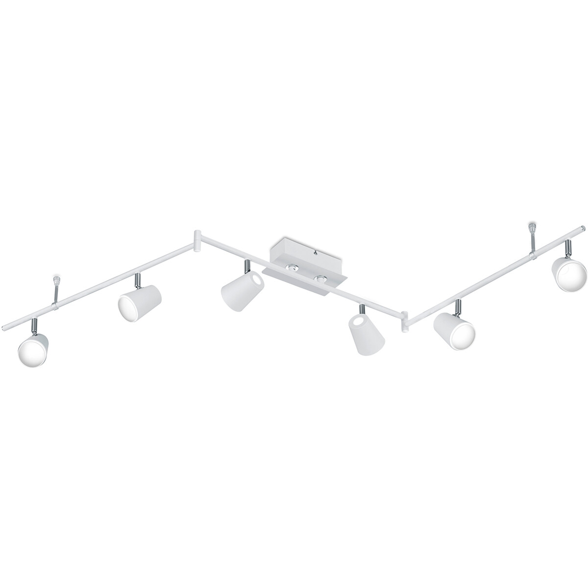 LED Plafondspot - Trion Narca - 36W - Warm Wit 3000K - 6-lichts - Rechthoek - Mat Wit - Aluminium