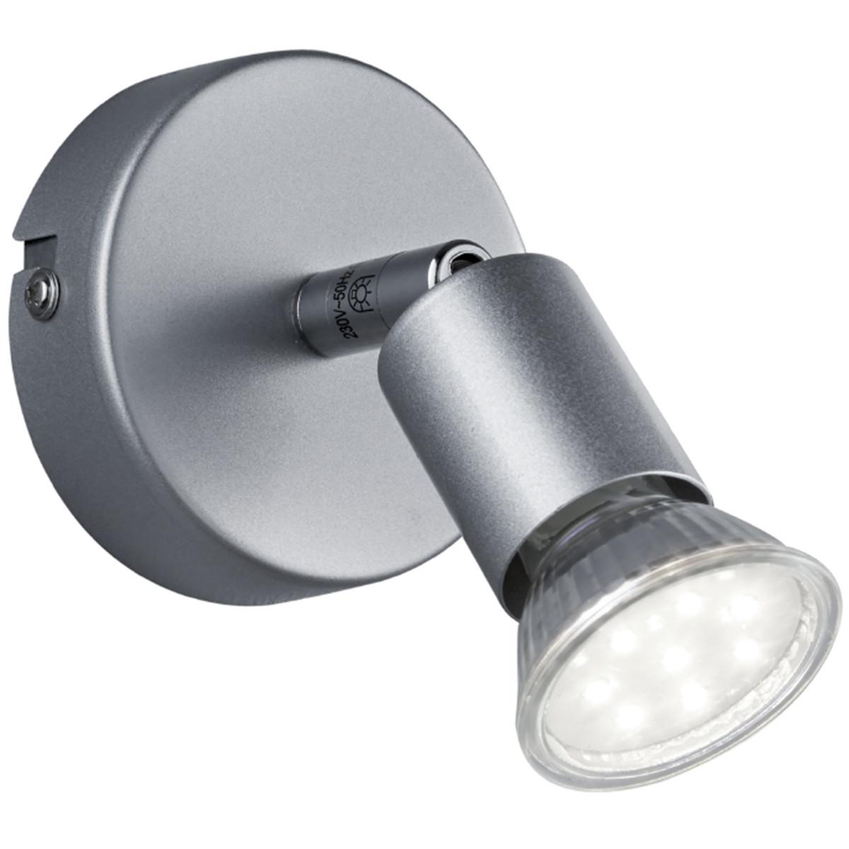 LED Plafondspot - Trion Pamo - GU10 Fitting - 3W - Warm Wit 3000K - 1-lichts - Rond - Mat Titaan - A