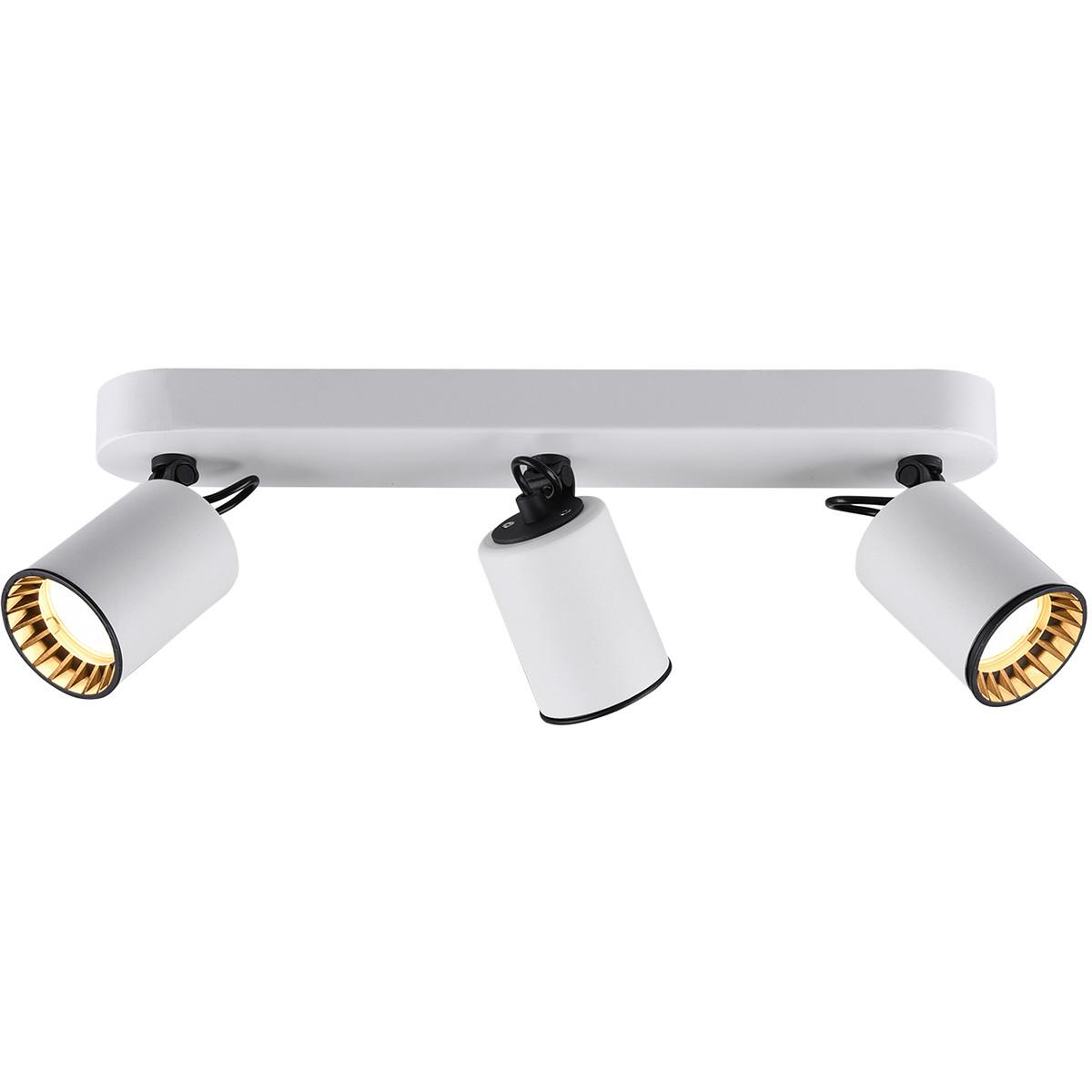 LED Plafondspot - Trion Pirlo - GU10 Fitting - 3-lichts - Rechthoek - Mat Wit - Aluminium