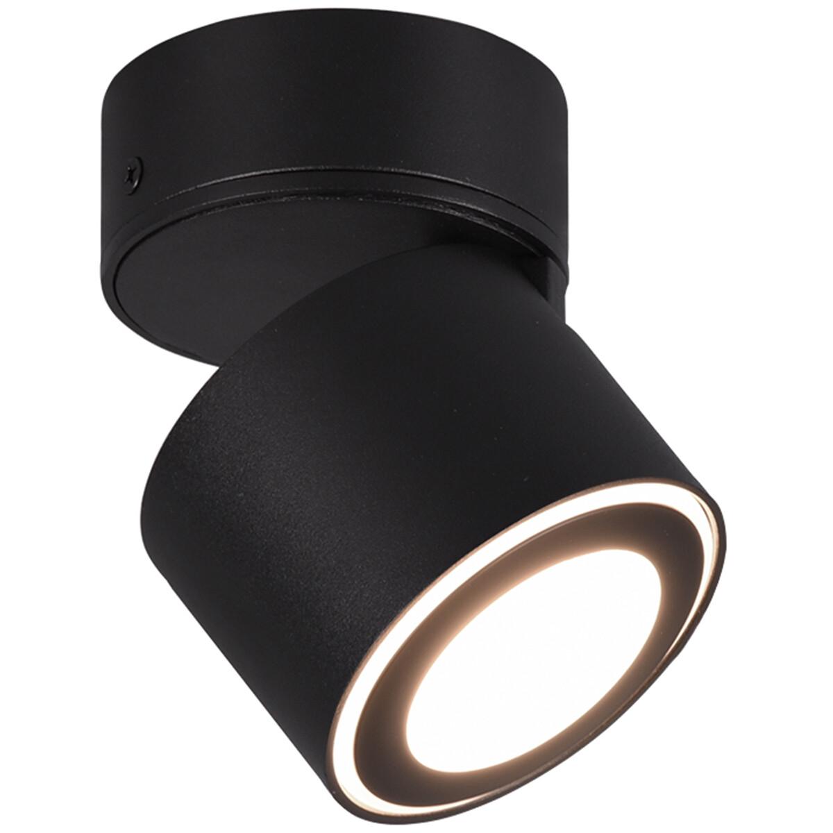 LED Plafondspot - Trion Tarus - 4W - Warm Wit 3000K - 1-lichts - Rond - Mat Zwart - Aluminium