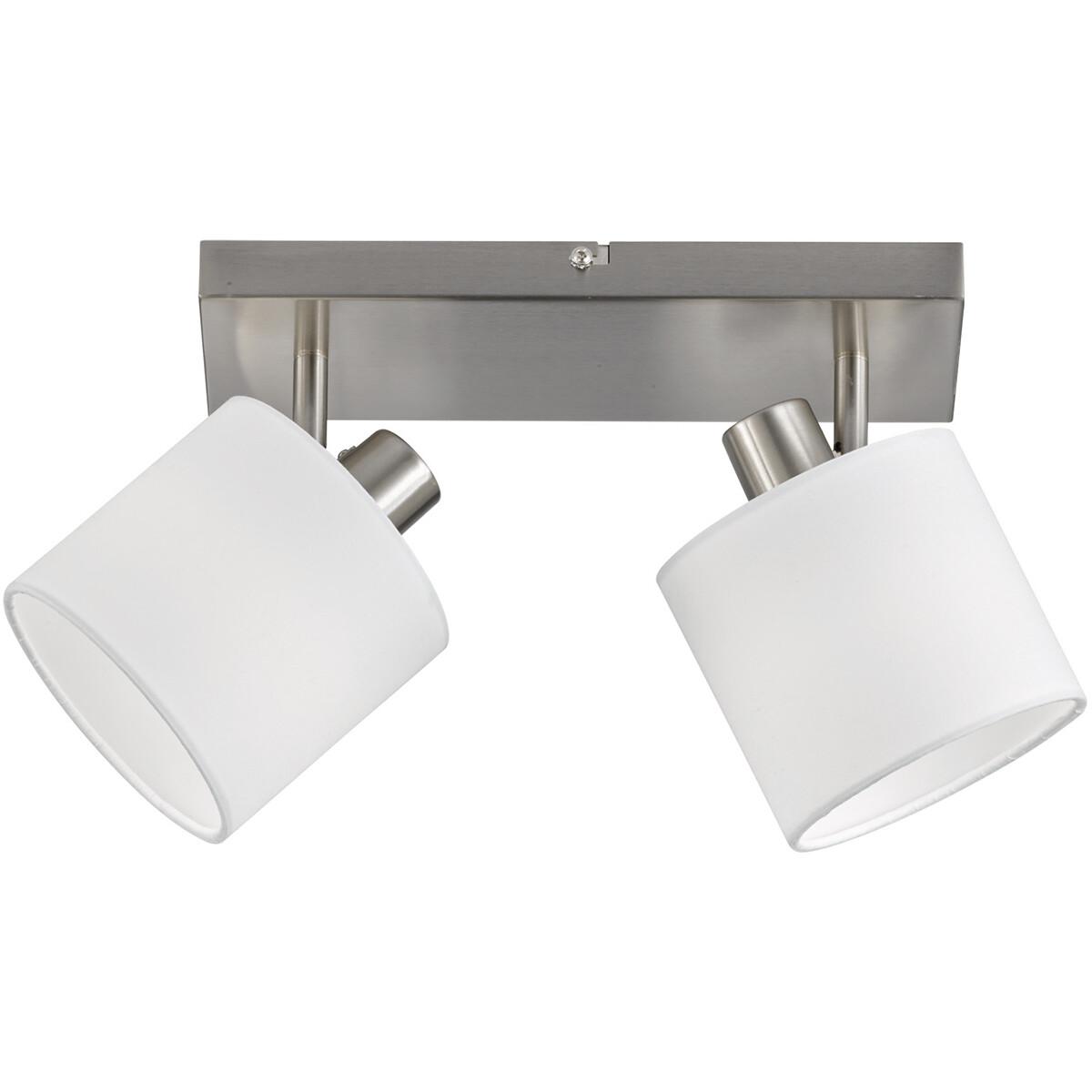 LED Plafondspot - Trion Torry - E14 Fitting - 2-lichts - Rond - Mat Nikkel - Aluminium