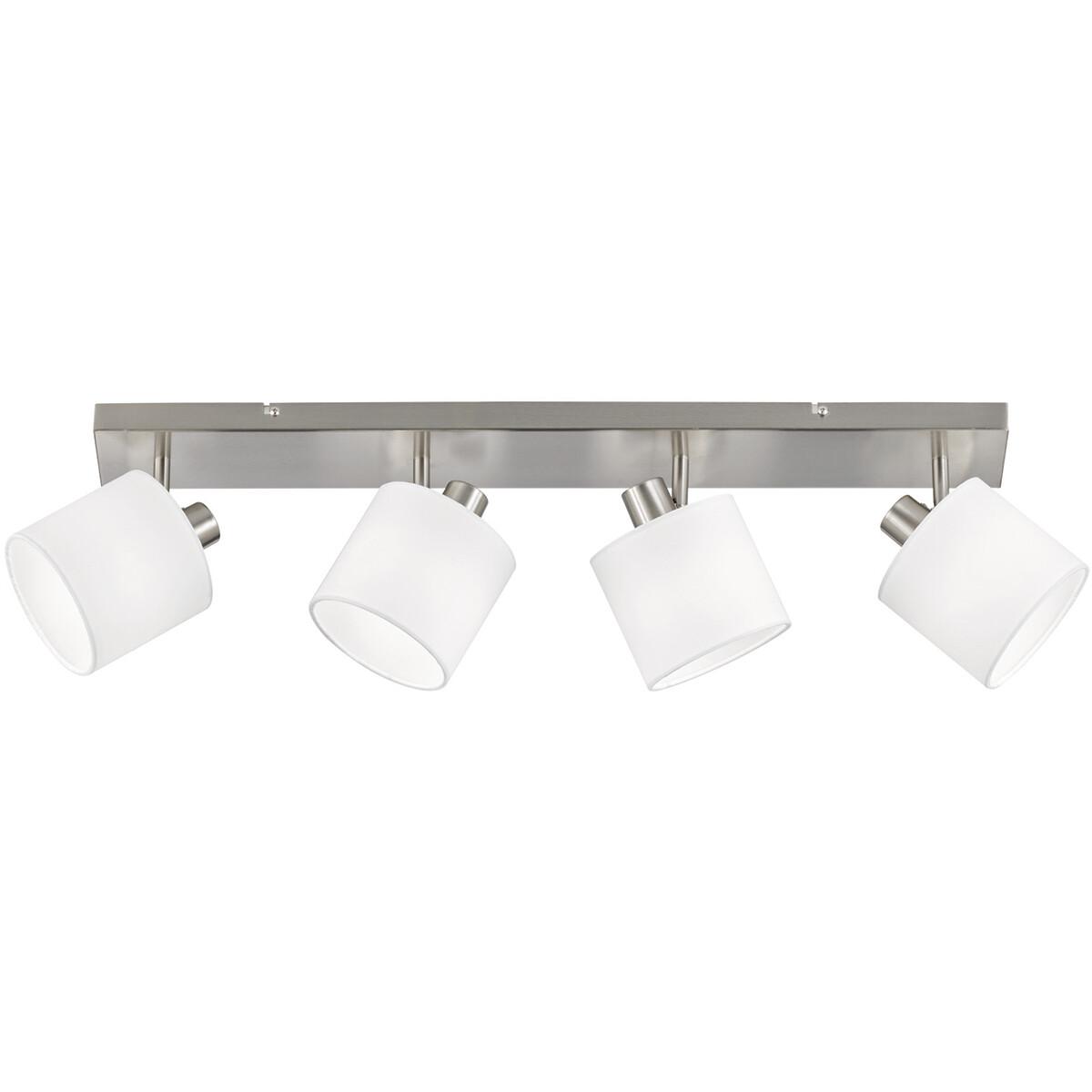 LED Plafondspot - Trion Torry - E14 Fitting - 4-lichts - Rechthoek - Mat Nikkel - Aluminium
