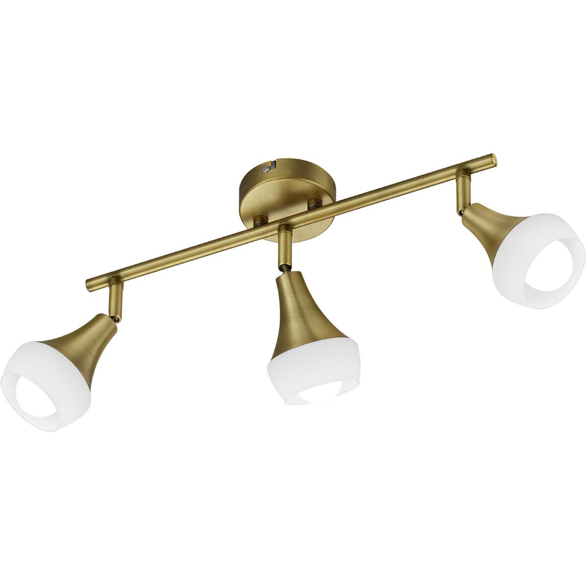 LED Plafondspot - Trion Trompo - E14 Fitting - 3-lichts - Rechthoek - Oud Brons - Aluminium