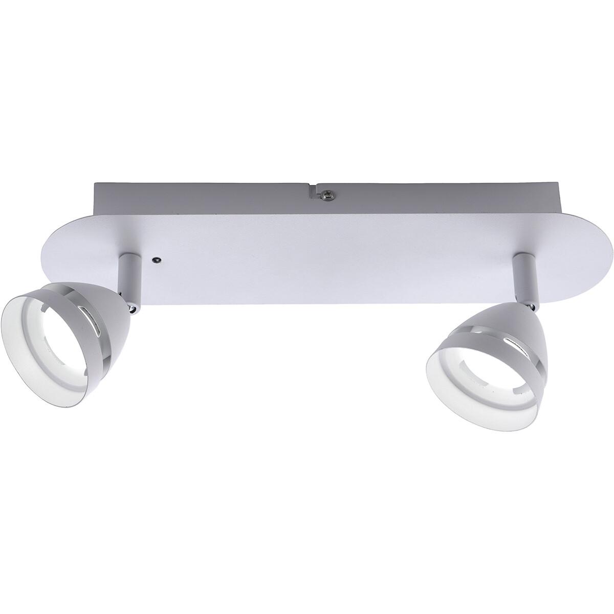 LED Plafondspot - Trion Undy - 6W - Aanpasbare Kleur - 2-lichts - Rechthoek - Mat Wit - Aluminium