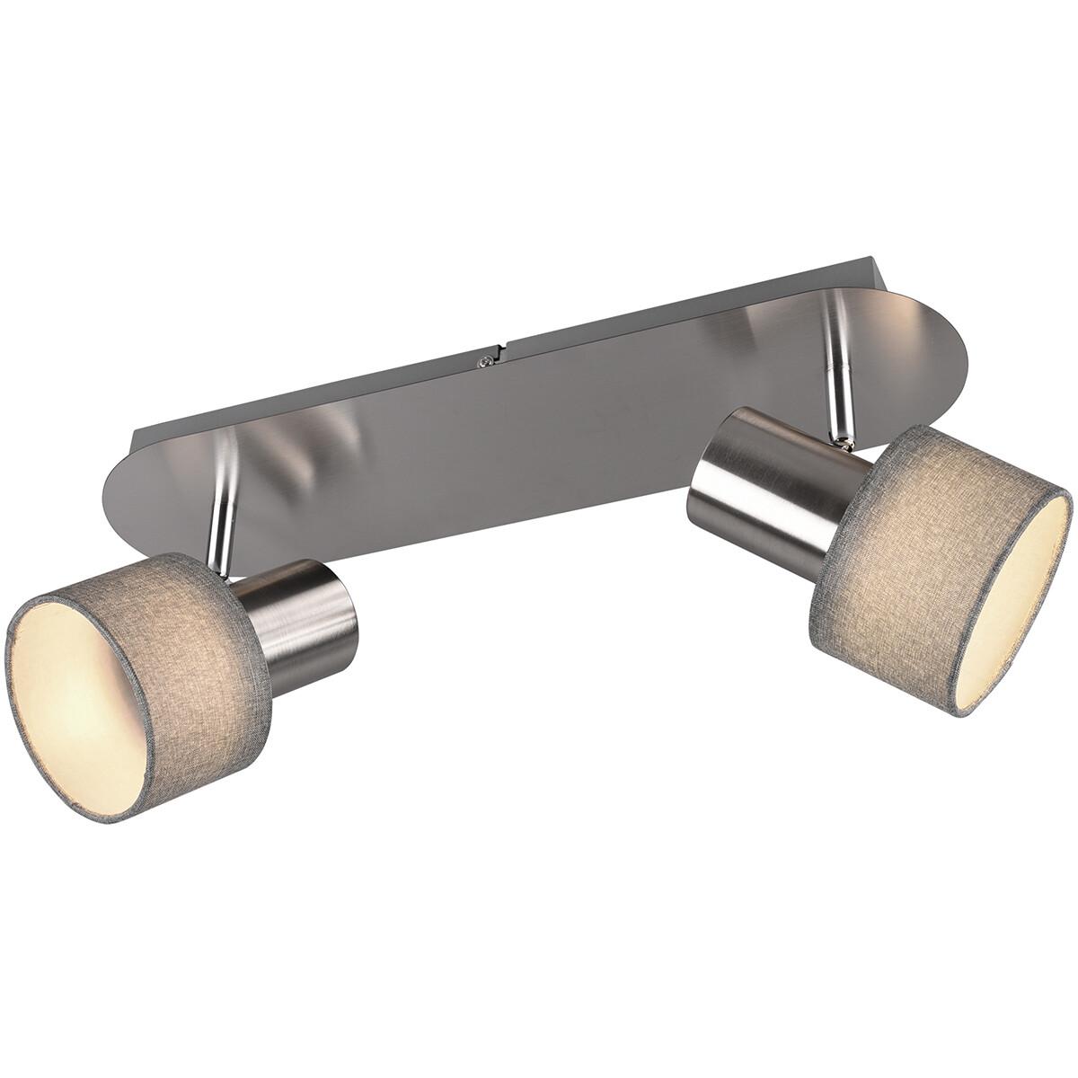 LED Plafondspot - Trion Waler - GU10 Fitting - 2-lichts - Rechthoek - Mat Nikkel - Aluminium