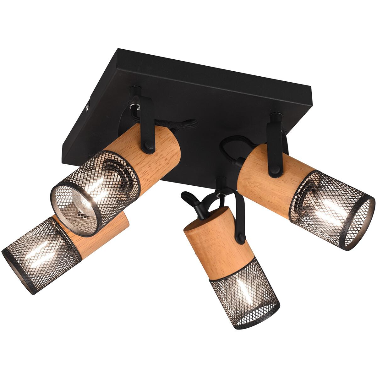 LED Plafondspot - Trion Yosh - E14 Fitting - 4-lichts - Vierkant - Mat Zwart - Aluminium