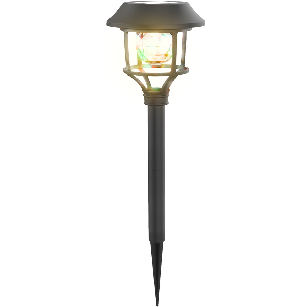 LED Priklamp met Zonne-energie - Aigi Haki - 0.08W - RGB - Mat Zwart - Kunststof