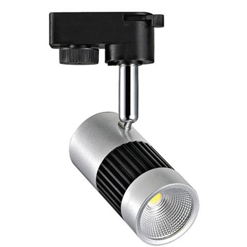 LED Railverlichting - Track Spot - 8W 1 Fase - Rond - Natuurlijk Wit 4200K - Mat Zwart/Zilver Alumin