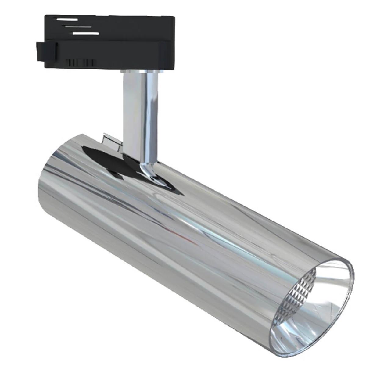 LED Railverlichting - Track Spot - Facto - 30W 1 Fase - Rond - Warm Wit 3000K - Glans Chroom Alumini