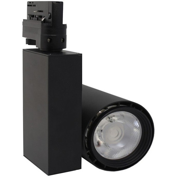 LED Railverlichting - Track Spot - Facto - 40W 3 Fase - Rond - Natuurlijk Wit 4000K - Mat Zwart Alum