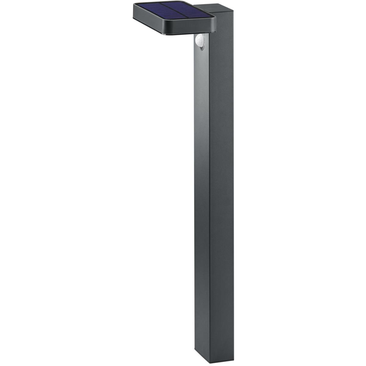 LED Solar Tuinverlichting - Paal/Sokkel - Trion Escarino - Zonne-energie - Bewegingssensor - 4W - Mat Zwart - RVS