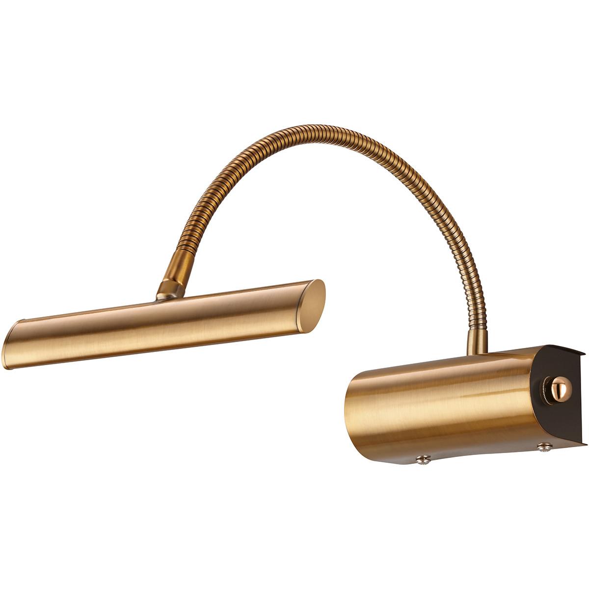 LED Spiegelverlichting - Schilderijverlichting - Trion Curty - Ovaal 4W - Dimbaar - Mat Brons Alumin