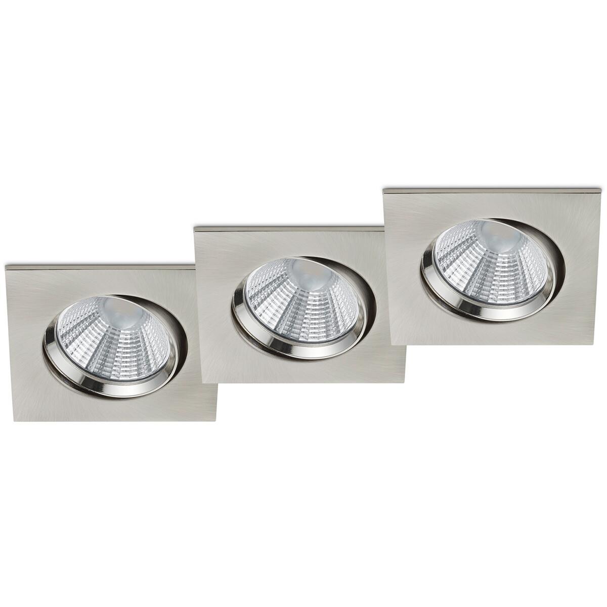 LED Spot 3 Pack - Inbouwspot - Trion Paniro - Vierkant 5W - Dimbaar - Warm Wit 3000K - Mat Nikkel - Aluminium - 80mm