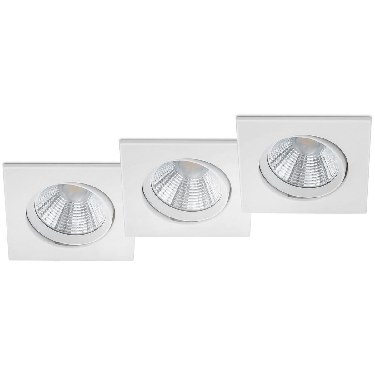 LED Spot 3 Pack - Inbouwspot - Trion Paniro - Vierkant 5W - Dimbaar - Warm Wit 3000K - Mat Wit - Aluminium - 80mm