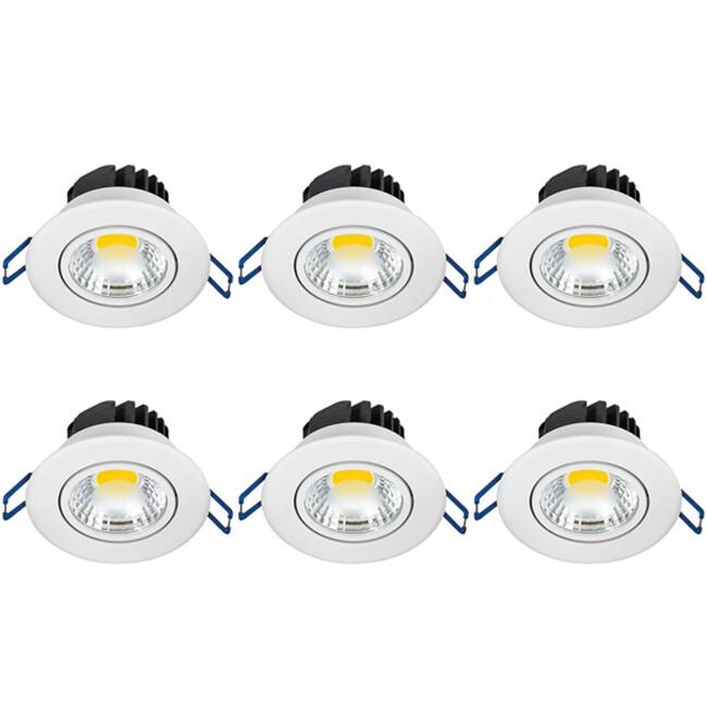 LED Spot 6 Pack - Inbouwspot - Lila - Rond 3W - Natuurlijk Wit 4200K - Mat Wit Aluminium - Kantelbaar Ø83mm