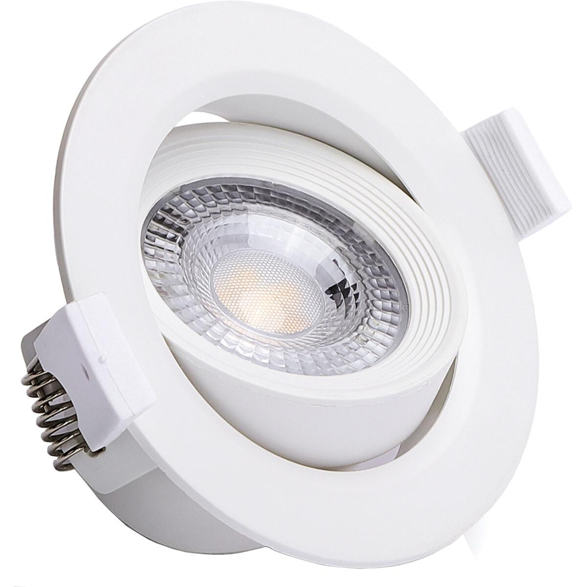 LED Spot - Inbouwspot - Aigi Nilona - 5W - Warm Wit 3000K - Rond - Kantelbaar - Mat Wit - Aluminium