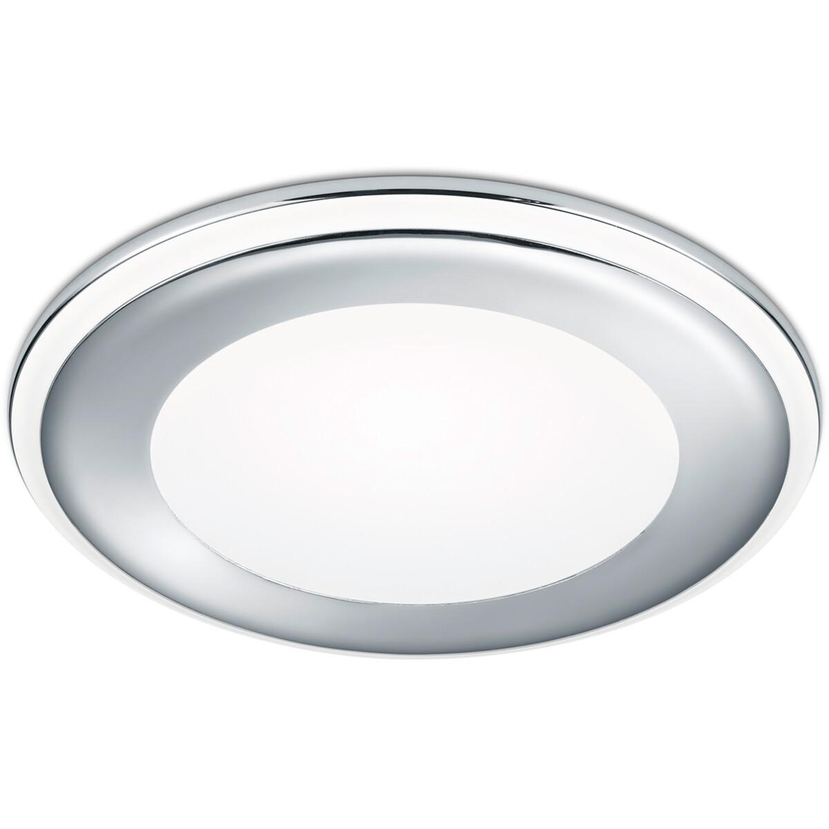 LED Spot - Inbouwspot - Trion Auran - 10W - Warm Wit 3000K - Rond - Mat Chroom - Kunststof