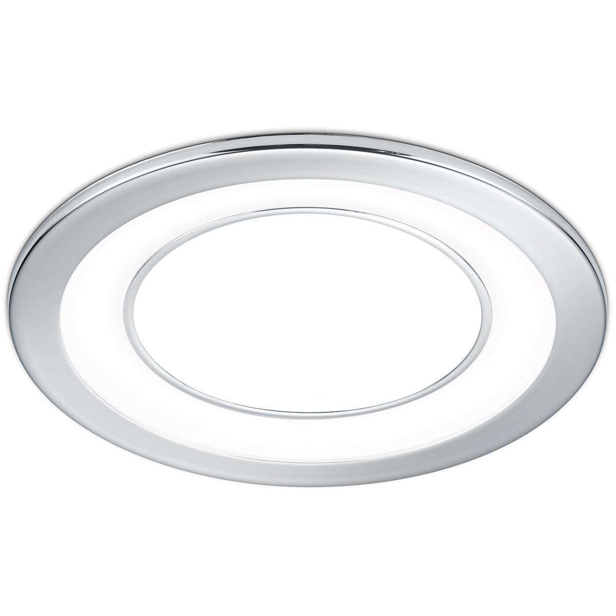 LED Spot - Inbouwspot - Trion Cynomi - 10W - Warm Wit 3000K - Rond - Mat Chroom - Kunststof - Ø140mm