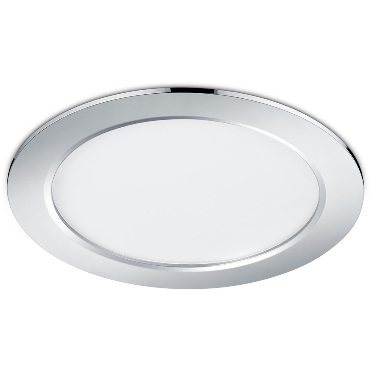 LED Spot - Inbouwspot - Trion Pandus - 18W - Warm Wit 3000K - Rond - Mat Chroom - Aluminium - Ø220mm