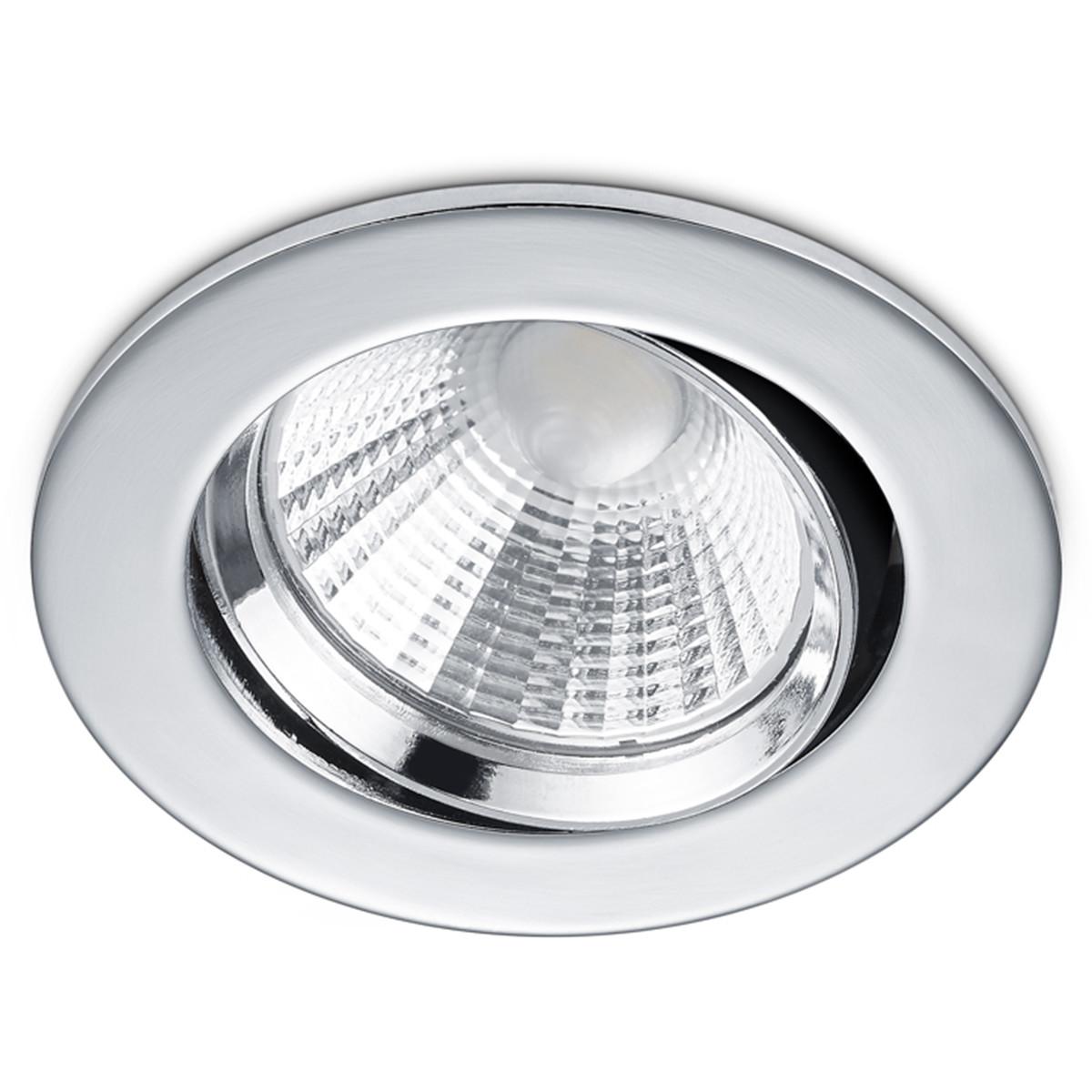 LED Spot - Inbouwspot - Trion Paniro - Rond 5W - Dimbaar - Warm Wit 3000K - Mat Chroom - Aluminium - Ø80mm