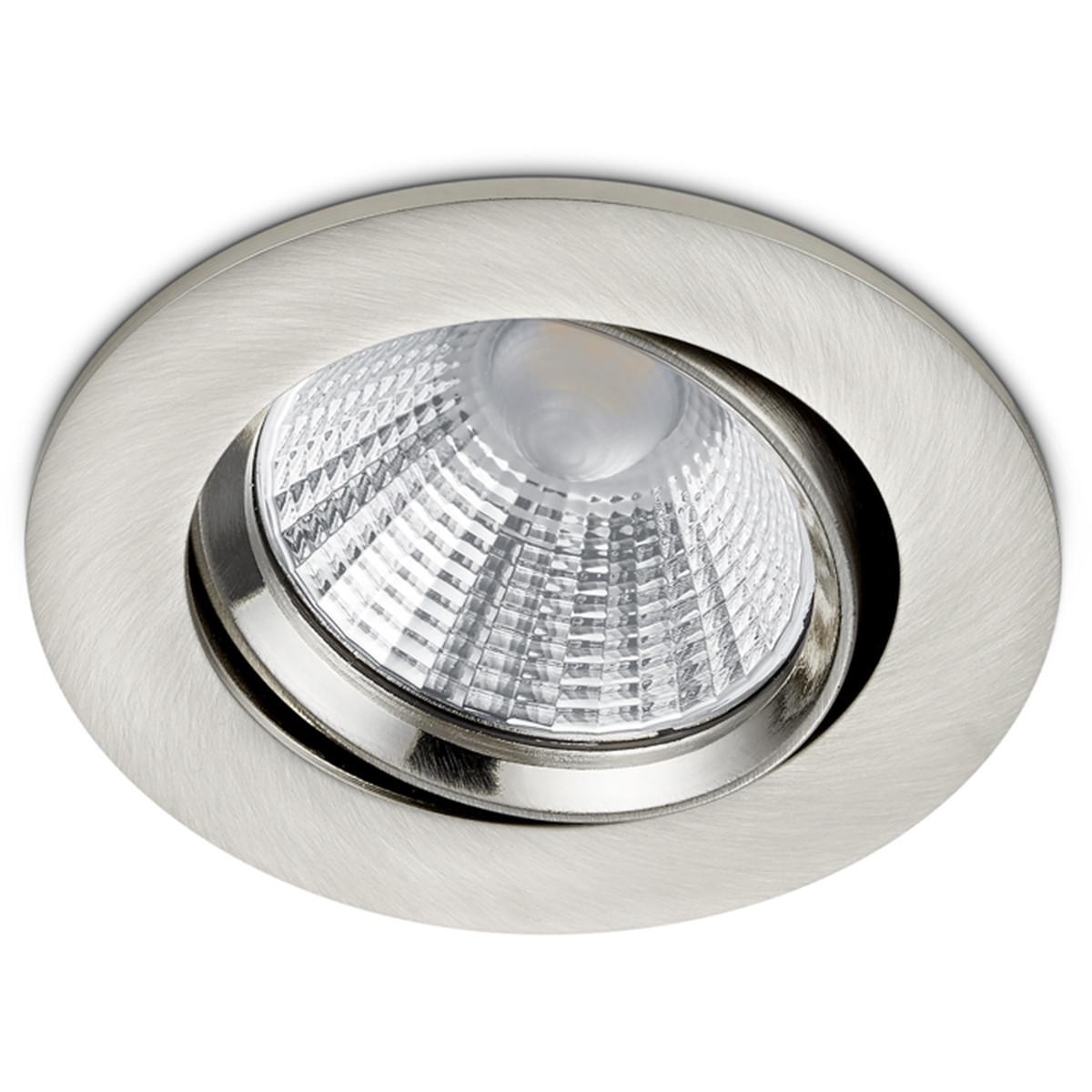 LED Spot - Inbouwspot - Trion Paniro - Rond 5W - Dimbaar - Warm Wit 3000K - Mat Nikkel - Aluminium - Ø80mm