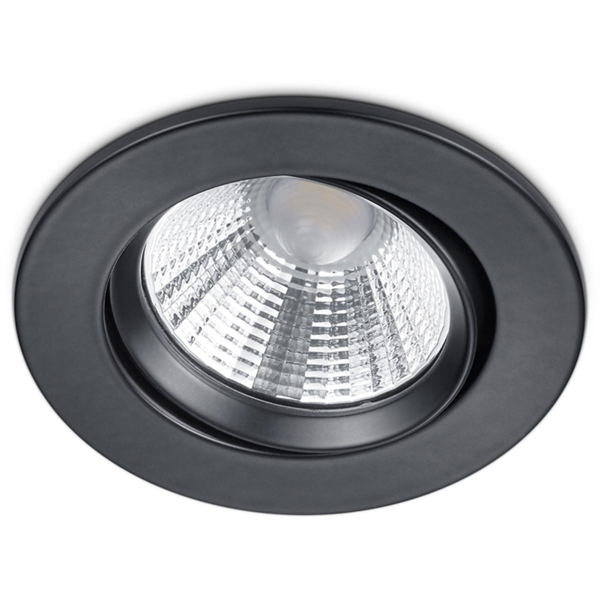 LED Spot - Inbouwspot - Trion Paniro - Rond 5W - Dimbaar - Warm Wit 3000K - Mat Zwart - Aluminium -