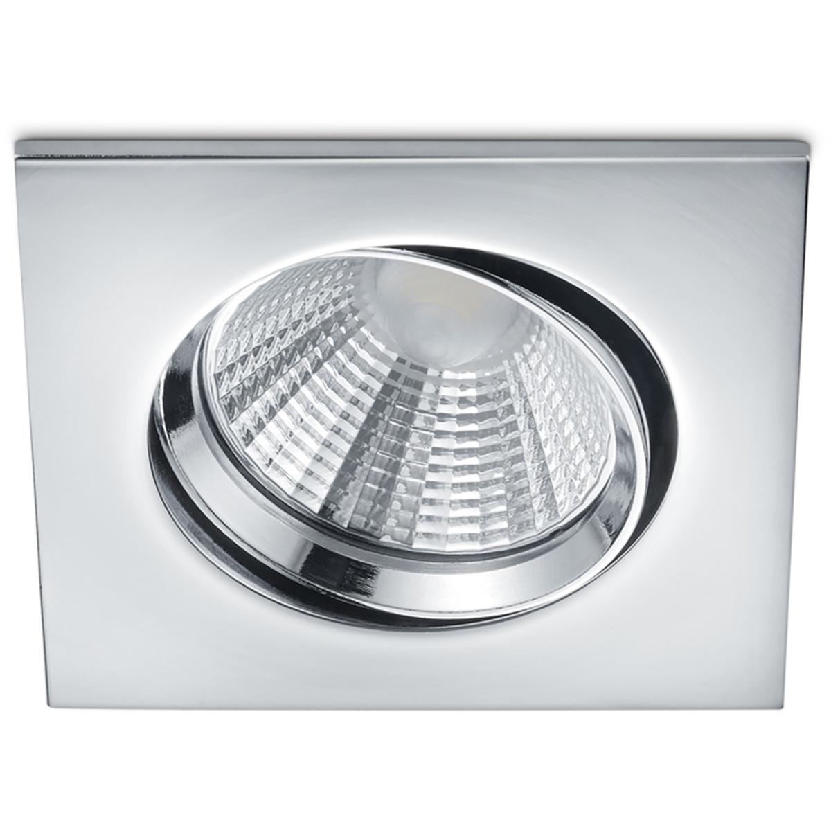 LED Spot - Inbouwspot - Trion Paniro - Vierkant 5W - Dimbaar - Warm Wit 3000K - Mat Chroom - Aluminium - 80mm