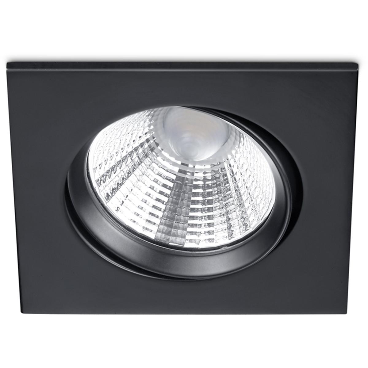 LED Spot - Inbouwspot - Trion Paniro - Vierkant 5W - Dimbaar - Warm Wit 3000K - Mat Zwart - Aluminiu