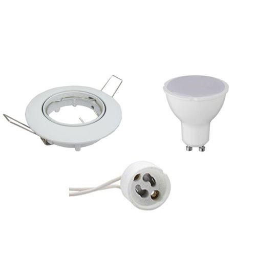 LED Spot Set - Aigi - GU10 Fitting - Inbouw Rond - Glans Wit - 6W - Helder/Koud Wit 6400K - Kantelba