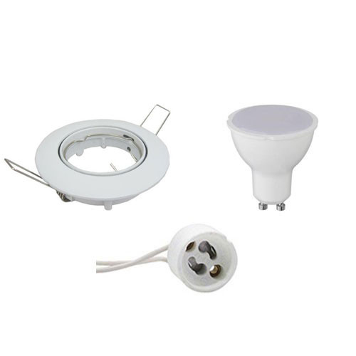 LED Spot Set - GU10 Fitting - Dimbaar - Inbouw Rond - Glans Wit - 6W - Warm Wit 3000K - Kantelbaar Ø