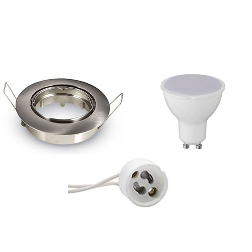 LED Spot Set - Aigi - GU10 Fitting - Inbouw Rond - Mat Chroom - 6W - Warm Wit 3000K - Kantelbaar Ø82