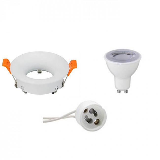 LED Spot Set - GU10 Fitting - Dimbaar - Inbouw Rond - Mat Wit - 6W - Warm Wit 3000K - Ø85mm