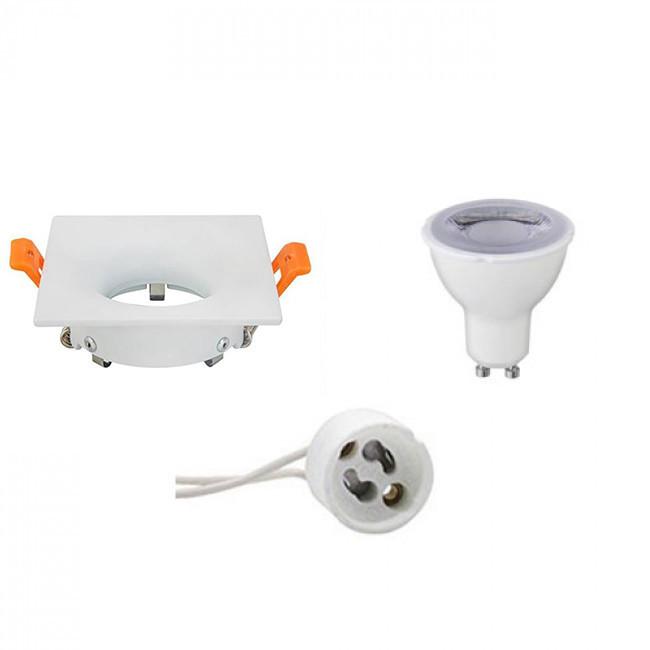 LED Spot Set - GU10 Fitting - Dimbaar - Inbouw Vierkant - Mat Wit - 6W - Helder/Koud Wit 6400K - 85m