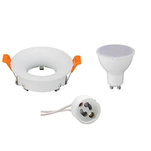 LED Spot Set - GU10 Fitting - Inbouw Rond - Mat Wit - 6W - Helder/Koud Wit 6400K - Ø85mm