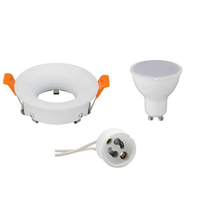 LED Spot Set - Aigi - GU10 Fitting - Inbouw Rond - Mat Wit - 8W - Warm Wit 3000K - Ø85mm