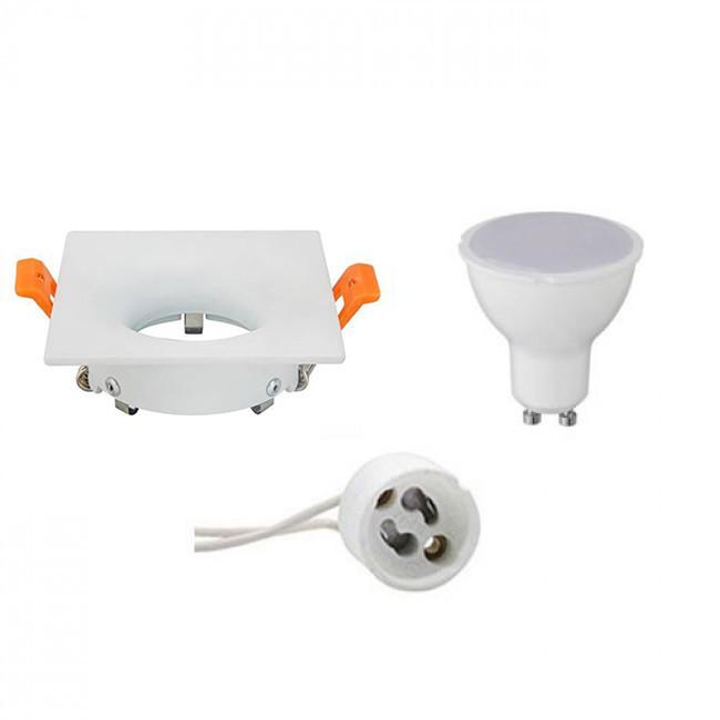 LED Spot Set - GU10 Fitting - Inbouw Vierkant - Mat Wit - 4W - Helder/Koud Wit 6400K - 85mm