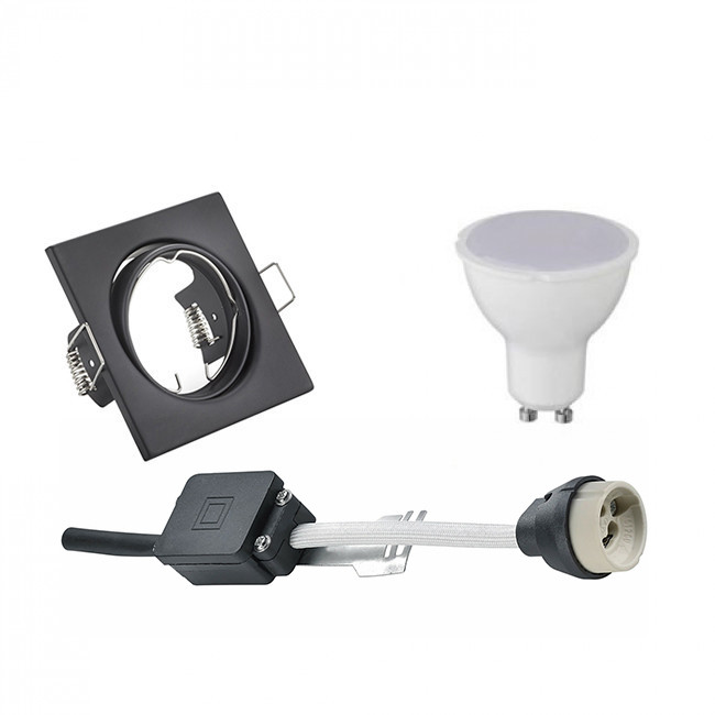 LED Spot Set - Trion - GU10 Fitting - Inbouw Vierkant - Mat Zwart - 4W - Warm Wit 3000K - Kantelbaar